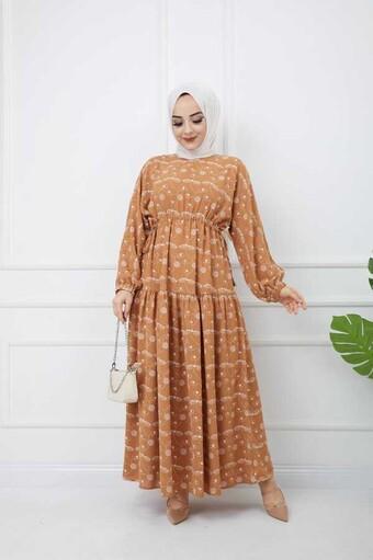 Baskılı Tesettür Elbise Kiremit - Thumbnail