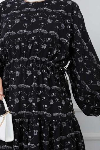 Baskılı Tesettür Elbise Siyah - Thumbnail