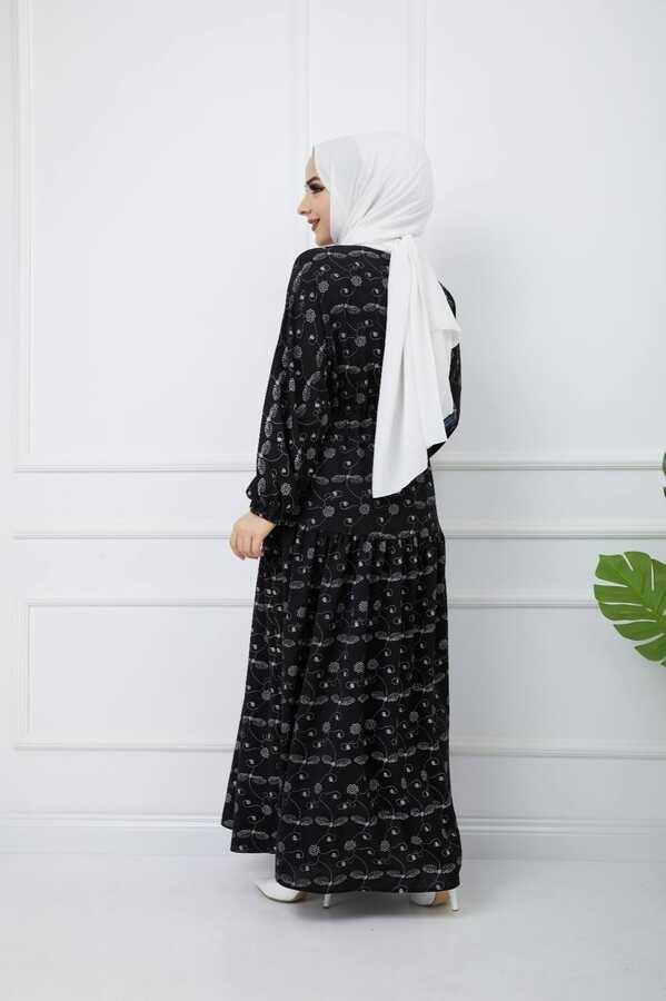 Baskılı Tesettür Elbise Siyah