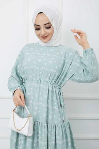 Baskılı Tesettür Elbise Su Yeşili - Thumbnail