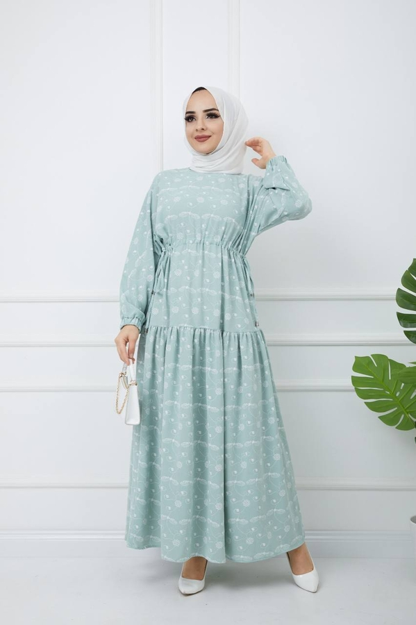 Baskılı Tesettür Elbise Su Yeşili