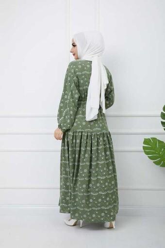 Baskılı Tesettür Elbise Yeşil - Thumbnail