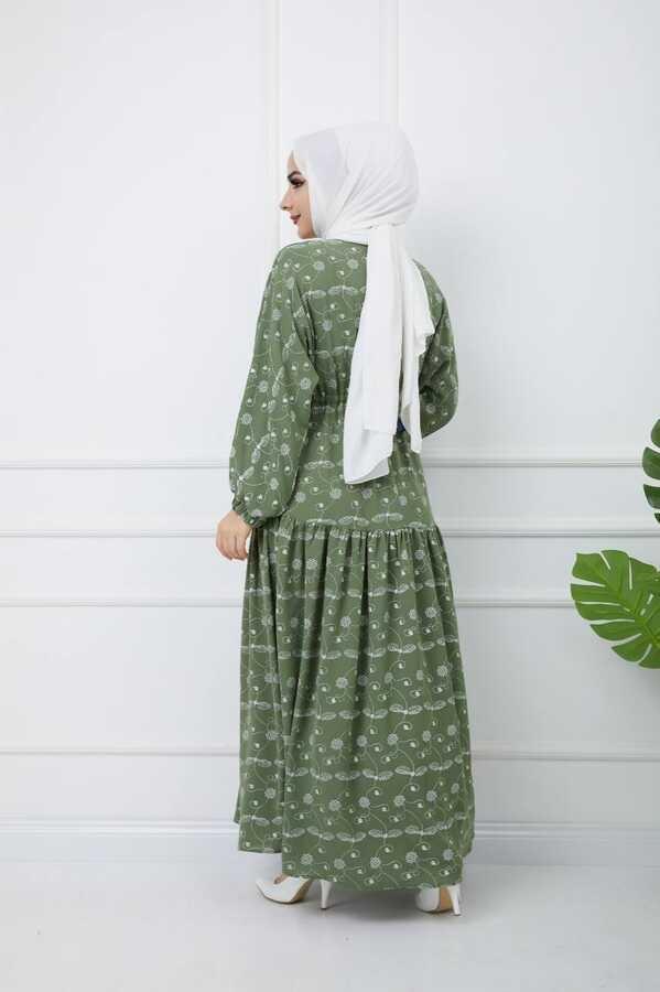 Baskılı Tesettür Elbise Yeşil