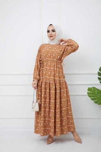 Bedrucktes Hijab-Kleid Fliese - Thumbnail