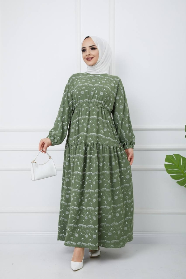 Bedrucktes Hijab-Kleid Grün