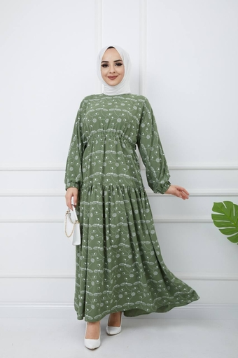 Bedrucktes Hijab-Kleid Grün - Thumbnail