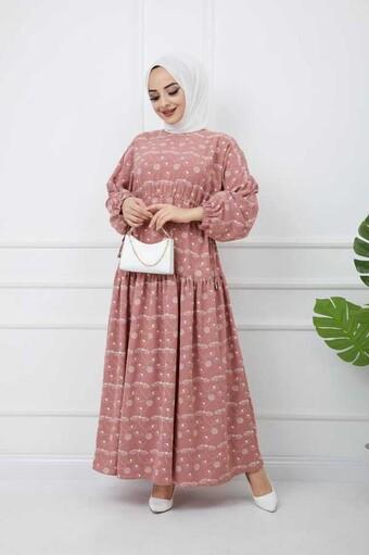 Bedrucktes Hijab-Kleid Pulver - Thumbnail