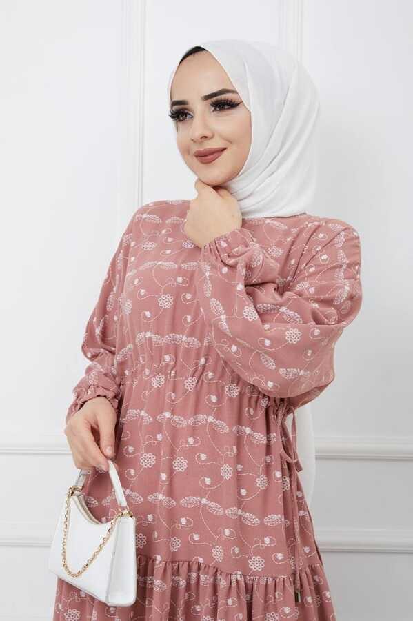 Bedrucktes Hijab-Kleid Pulver