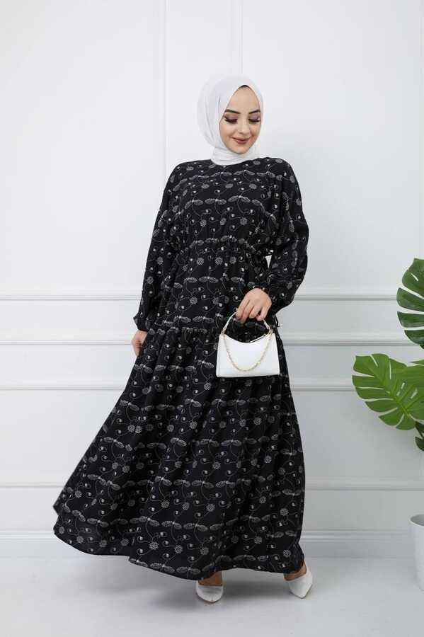 Bedrucktes Hijab-Kleid Schwarz