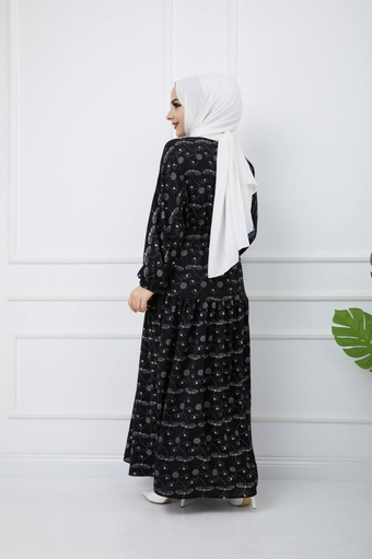 Bedrucktes Hijab-Kleid Schwarz - Thumbnail
