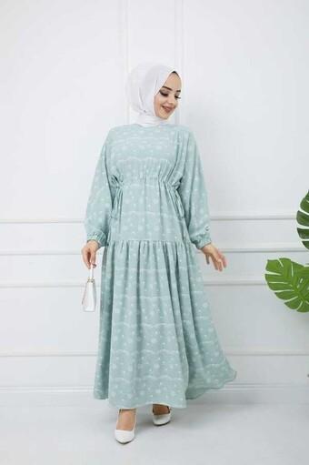Bedrucktes Hijab-Kleid Wasser grün - Thumbnail