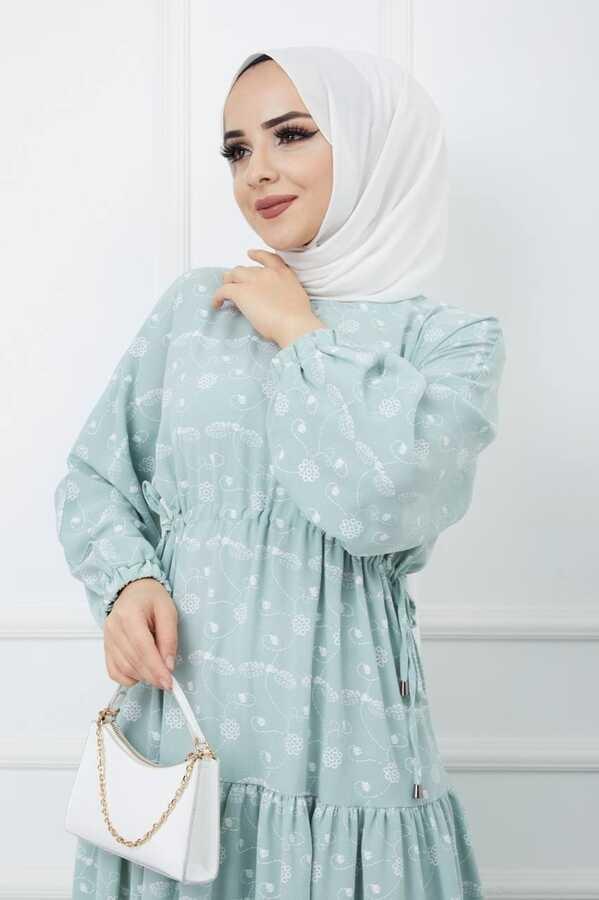 Bedrucktes Hijab-Kleid Wasser grün