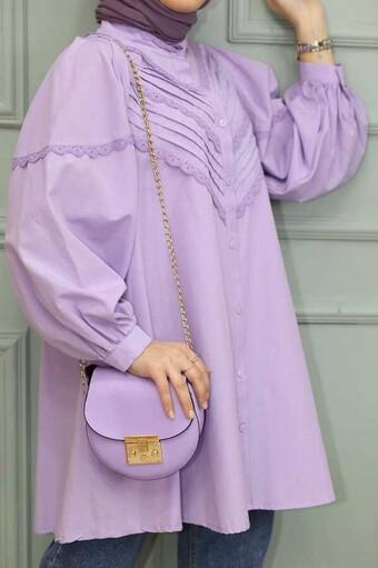 Besticktes Hijab Hemd Lila - Thumbnail