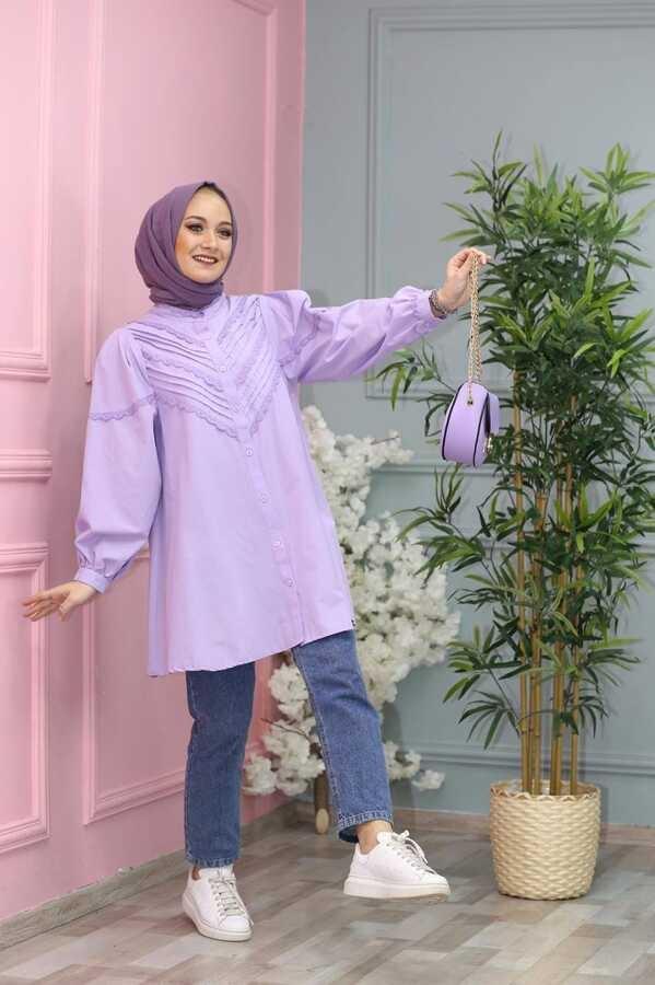 Besticktes Hijab Hemd Lila