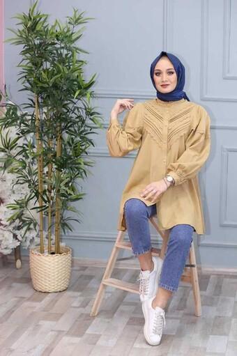 Besticktes Hijab Hemd Sahne - Thumbnail