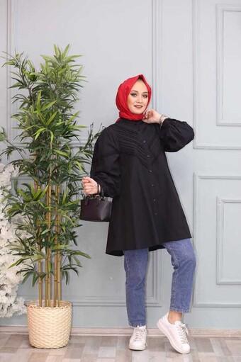 Besticktes Hijab Hemd Schwarz - Thumbnail
