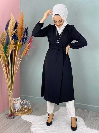 Cape Hijab Avec Taille à Lacets noir - Thumbnail