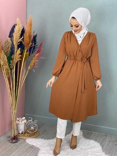 Cape Hijab Avec Taille à Lacets Taba - Thumbnail
