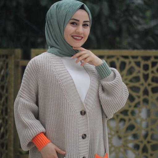 Cardigan Maille Tricot Beige - Thumbnail