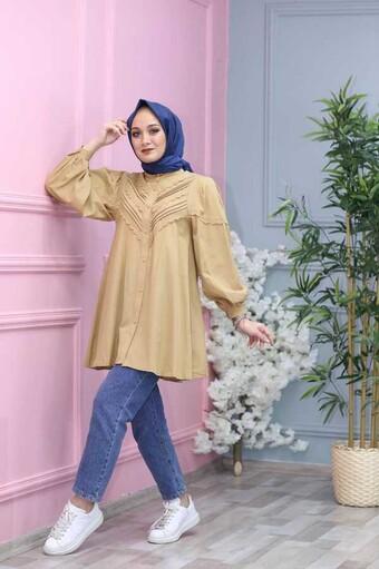 Chemise Hijab Brodée Crème - Thumbnail