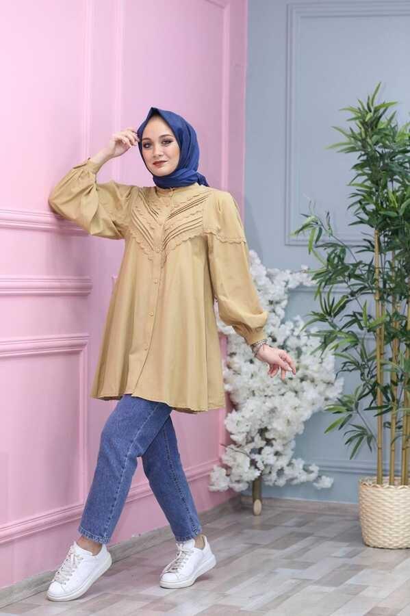 Chemise Hijab Brodée Crème