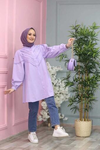 Chemise Hijab Brodée Violet - Thumbnail