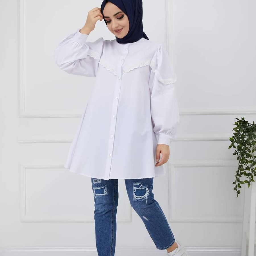 Chemise Hijab Dentelle Blanc