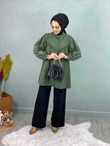 Chemise Hijab Dentelle Kaki - Thumbnail