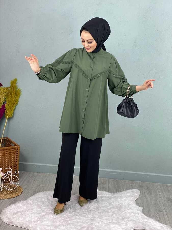 Chemise Hijab Dentelle Kaki