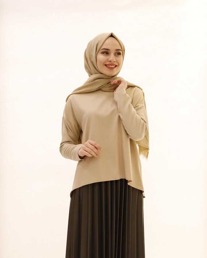 Chemisier Hijab Court Devant Long Dos Beige