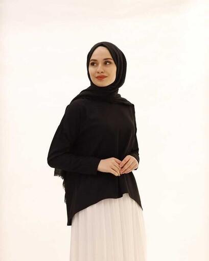Chemisier Hijab Court Devant Long Dos Noir - Thumbnail