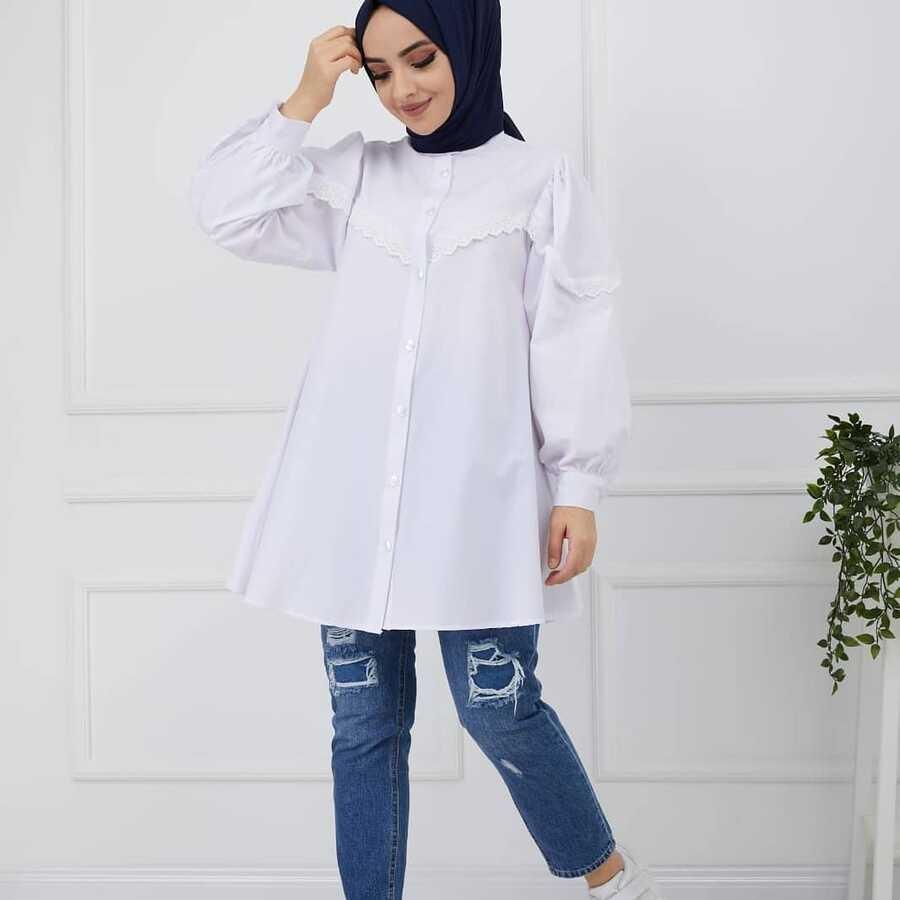 Dantelli Tesettür Gömlek Beyaz