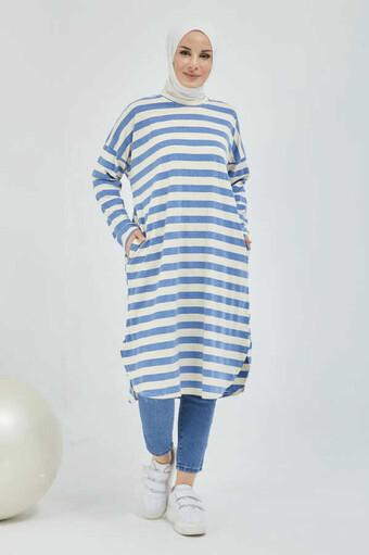 Gestreifte Hijab-Tunika mit Tasche Blau - Thumbnail