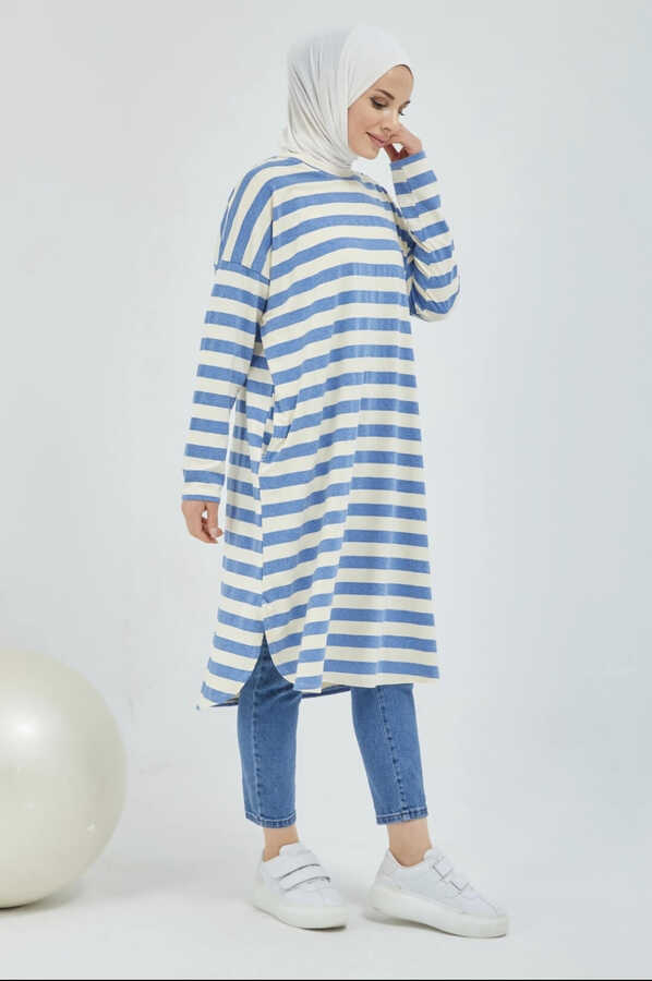 Gestreifte Hijab-Tunika mit Tasche Blau