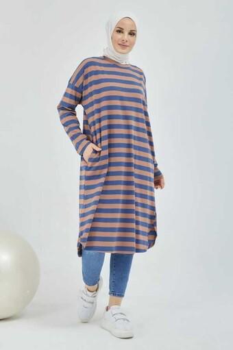 Gestreifte Hijab-Tunika mit Tasche Braun - Thumbnail