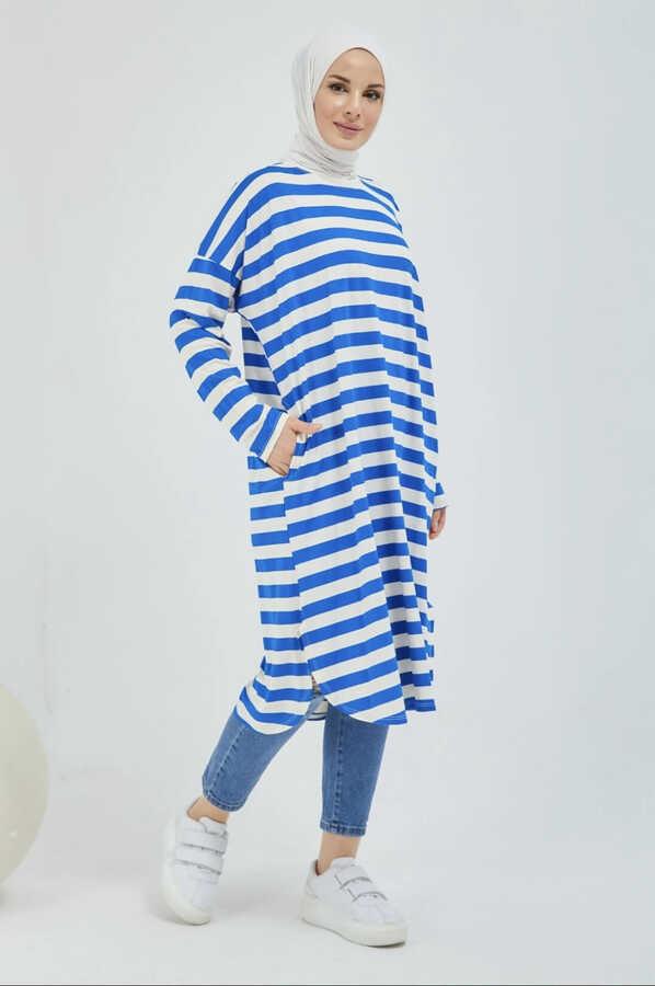 Gestreifte Hijab-Tunika mit Tasche Saks