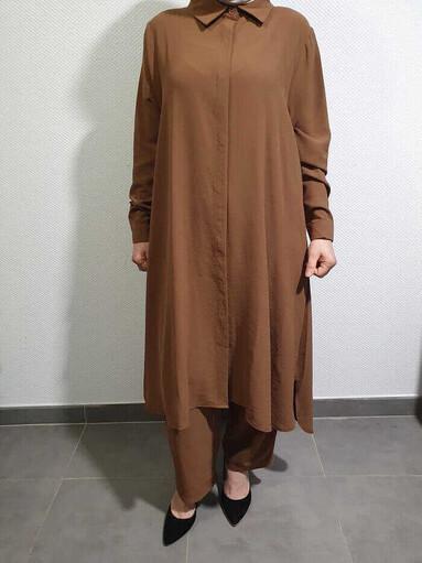 Helen Tesettür İkili Takım Camel - Thumbnail