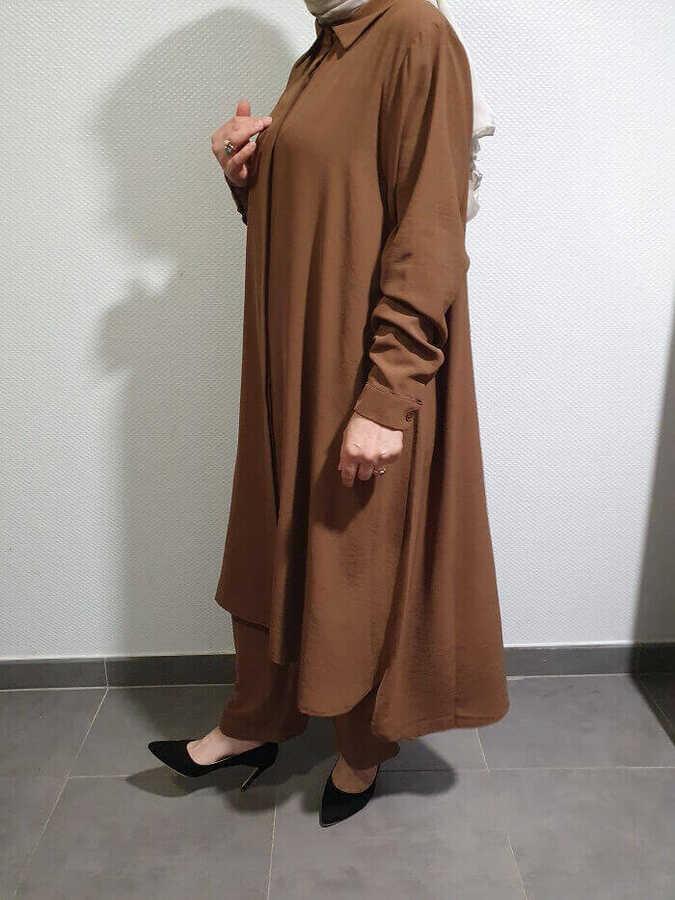 Helen Tesettür İkili Takım Camel