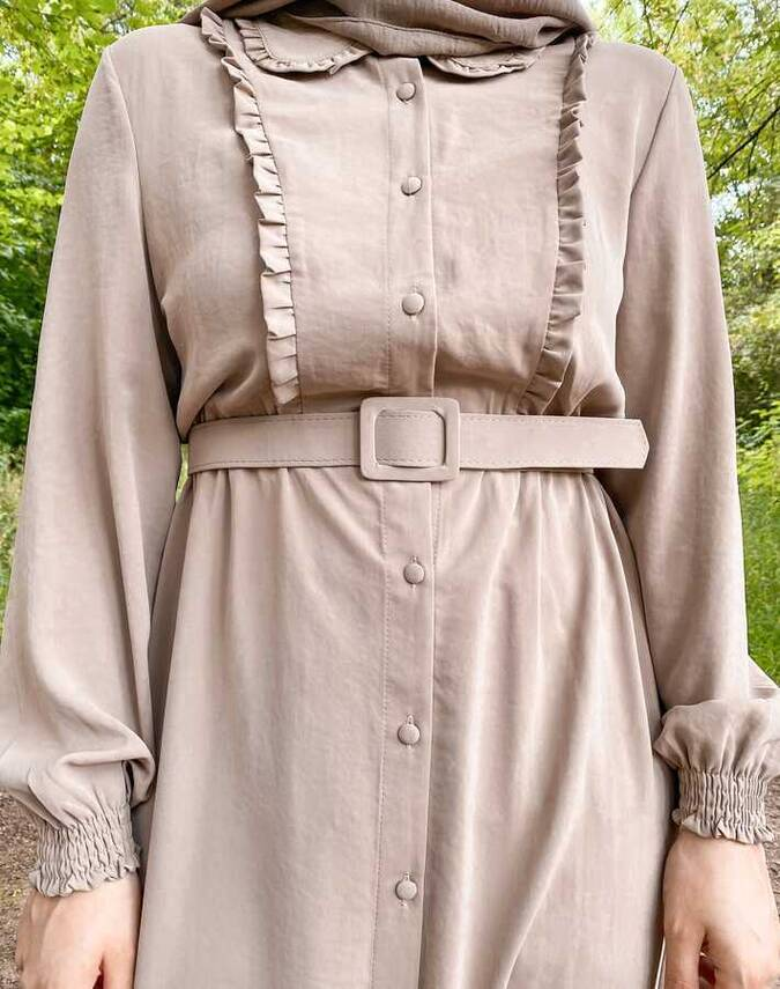 Hijab Tunika Creme mit Gürtel
