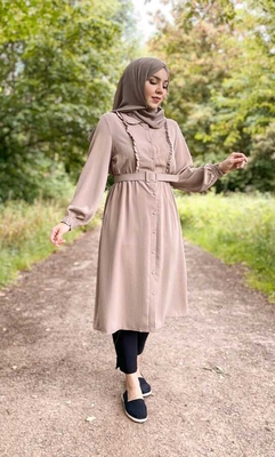 Hijab Tunika Creme mit Gürtel - Thumbnail