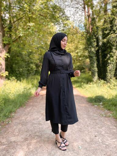 Hijab Tunika Schwarz mit Gürtel - Thumbnail
