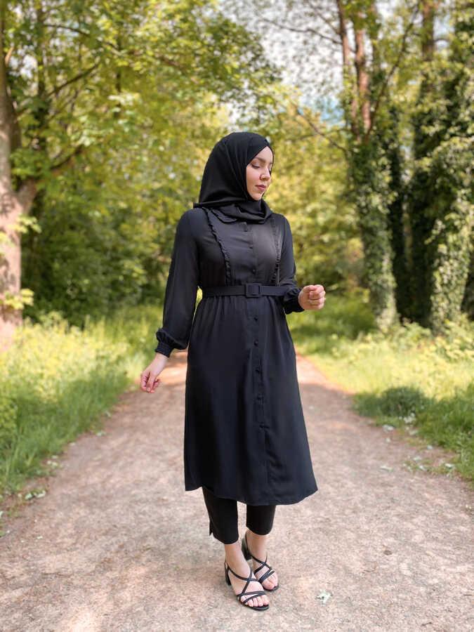 Hijab Tunika Schwarz mit Gürtel