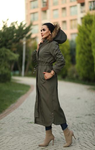 Tesettur Paris - Hijab parka avec clips, imperméable kaki avec doublure en fourrure