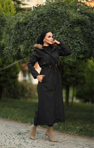 Tesettur Paris - Hijab parka avec taille froncée , imperméable noir avec doublure en fourrure