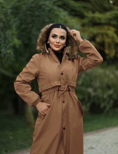 Tesettur Paris - Hijab parka , imperméable camel avec doublure en fourrure