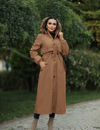 Hijab parka , imperméable camel avec doublure en fourrure - Thumbnail