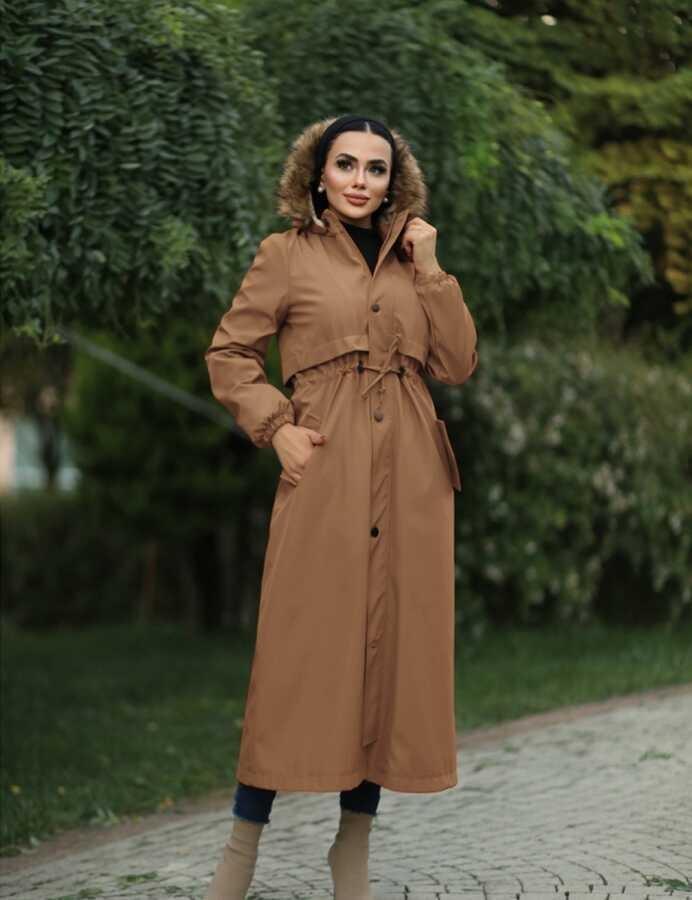 Hijab parka , imperméable camel avec doublure en fourrure