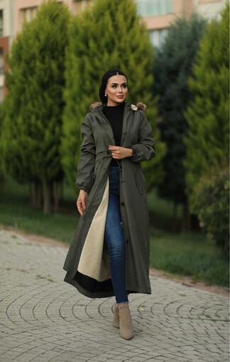 Tesettur Paris - Hijab parka , imperméable kaki avec doublure en fourrure
