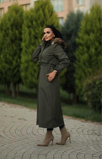 Hijab parka , imperméable kaki avec doublure en fourrure - Thumbnail
