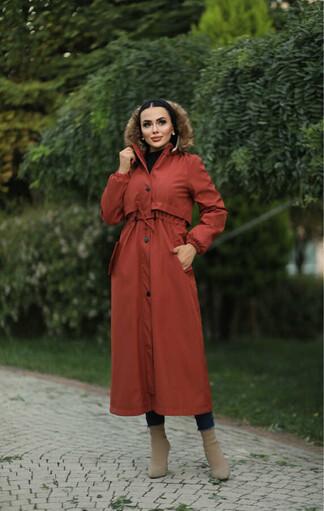Tesettur Paris - Hijab parka , imperméable orange avec doublure en fourrure